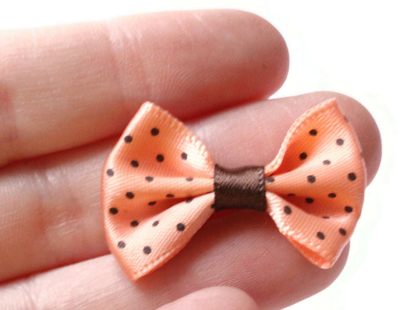 10 35mm Peach Pink and Brown Polka Dot Bows Loose Bow Embellishments For Jewelry Making or Barrette Making or General Crafting Purposes