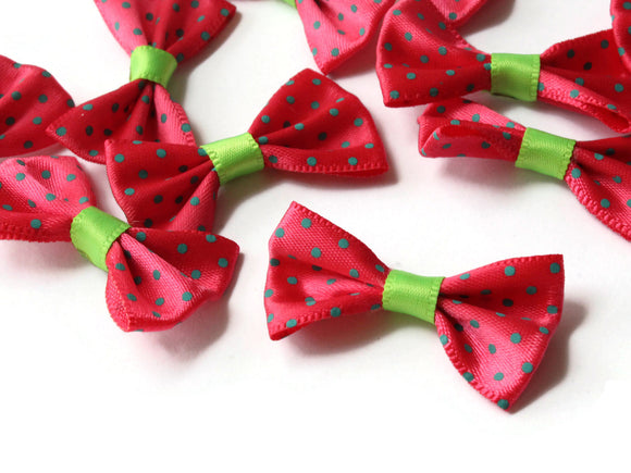 10 35mm Dark Pink and Green Polka Dot Bows Loose Bow Embellishments For Jewelry Making or Barrette Making or General Crafting Purposes