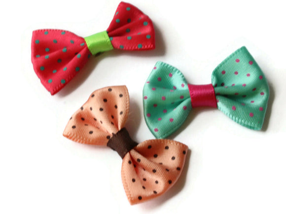 10 35mm Mixed Color Polka Dot Bows Loose Bow Embellishments For Jewelry Making or Barrette Making or General Crafting Purposes