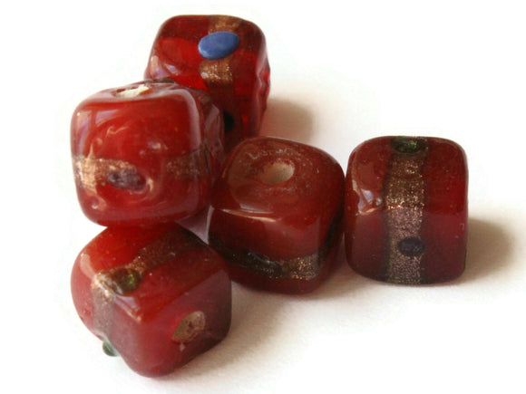 6 10mm Red and Gold Lampwork Glass Beads Cube Beads Jewelry Making Beading Supplies Loose Beads