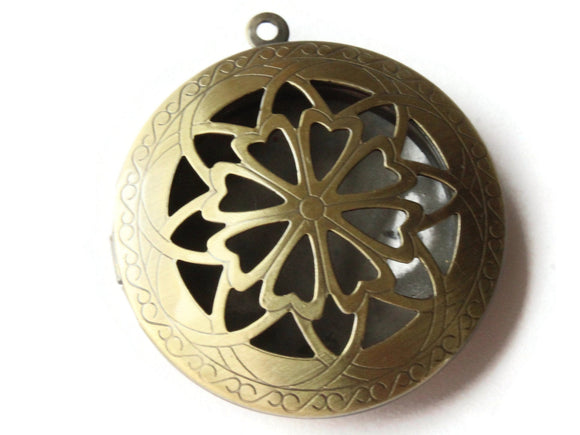 36mm Round Filigree Locket Brass Locket Charm Jewelry Making and Beading Supplies Diffuser Pendant
