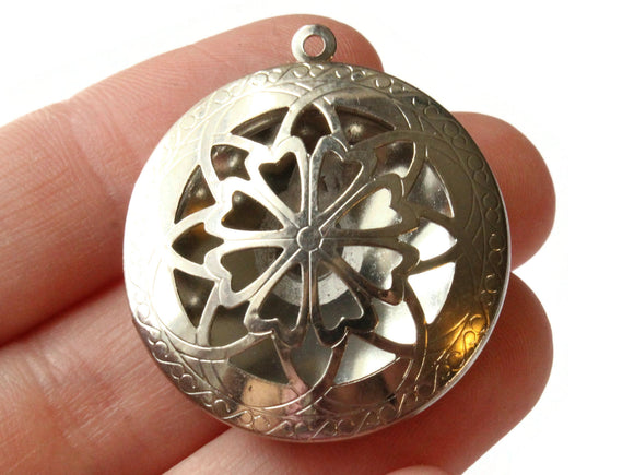 36mm Round Filigree Locket Silver Tone Brass Locket Charm Jewelry Making and Beading Supplies Diffuser Pendant