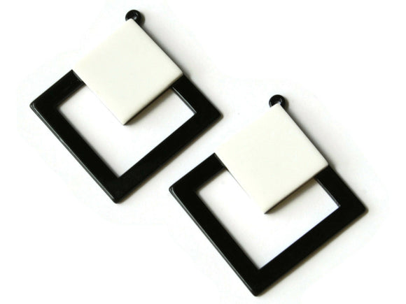 2 51mm Black and White Double Square Pendants Resin Pendants, Resin Charms Jewelry Making Beading Supplies Focal Beads Drop Beads