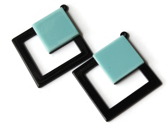 2 51mm Blue and Black Double Square Pendants Resin Pendants, Resin Charms Jewelry Making Beading Supplies Focal Beads Drop Beads