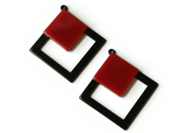 2 51mm Red and Black Double Square Pendants Resin Pendants, Resin Charms Jewelry Making Beading Supplies Focal Beads Drop Beads