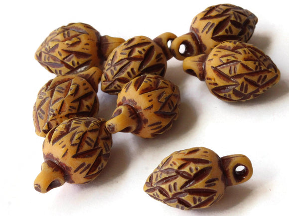 8 22mm Brown Vintage Plastic Bead Pine Cone Pendants Acorn Charms Jewelry Making Beading Supplies Loose Beads to String