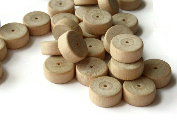 30 14mm Wood Disc Beads Wheel Beads Raw Wood Beads Macrame Beads Jewelry Making Beading Supplies Wooden Beads Saucer Beads Brown Beads
