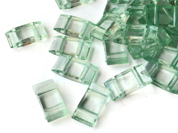 40 17mm Two Hole Pale Green Pillow Acrylic Beads Double Drilled Plastic Rectangle Beads Jewelry Making Beading Supplies Loose Bead Smileyboy