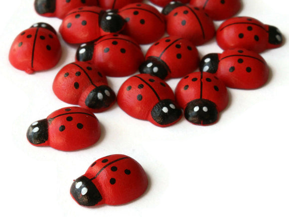 Wooden Ladybug Cabochons Red Lady Bug Cabochons Flat Back Cabochons Beetle Decoden Red and Black Spotted Scrapbooking Supplies