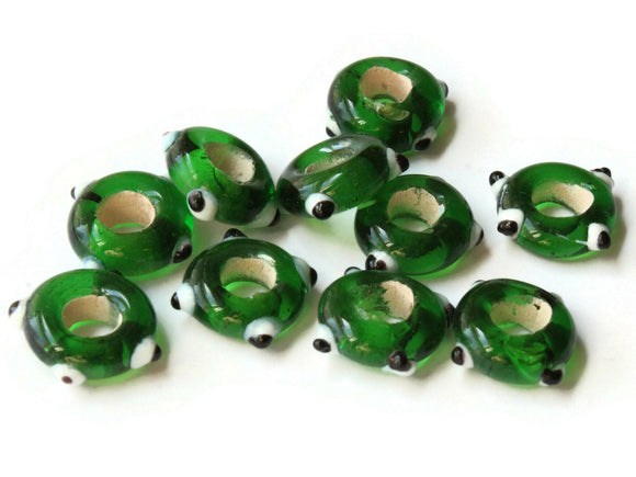 10 Green Evil Eye Beads Lampwork Glass Beads Large Hole Beads Donut Beads European Saucer Beads Jewelry Making Macrame Beading Supplies