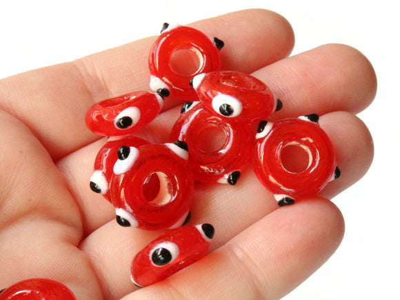 10 Red Evil Eye Beads Lampwork Glass Beads Large Hole Beads Donut Beads European Saucer Beads Jewelry Making Macrame Beading Supplies