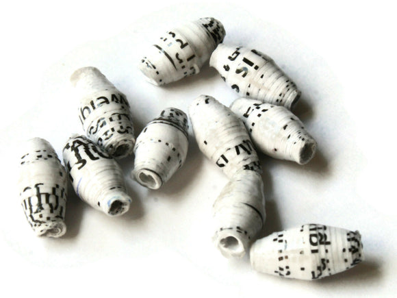 10 14mm White Beads with Black Ugandan Paper Beads Fair Trade Beads African Paper Beads Sealed Paper Beads Upcycled Beads Jewelry Making