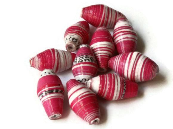 10 14mm Bright Pink and White Striped Ugandan Paper Beads Fair Trade Beads Sealed African Paper Beads Upcycled Beads Jewelry Making