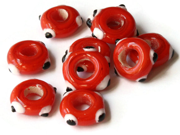 10 Orange Red Evil Eye Beads Lampwork Glass Beads Large Hole Beads Donut Beads European Saucer Beads Jewelry Making Macrame Beading Supplies