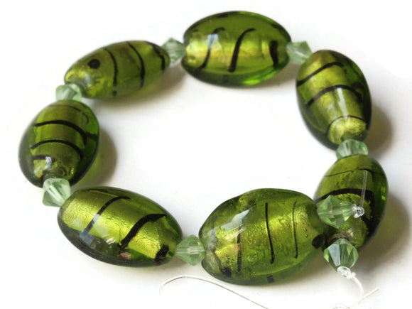 7 24mm Green and Black Beads Lampwork Glass Beads Puff Oval Beads Chunky Beads Bead Strand Big Beads Jewelry Making Smileyboy
