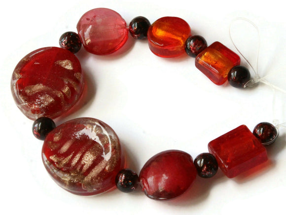 15 Red Lampwork and Glass Beads 8mm to 30mm Mixed Beads Jewelry Making Beading Supplies Smooth and Faceted Beads