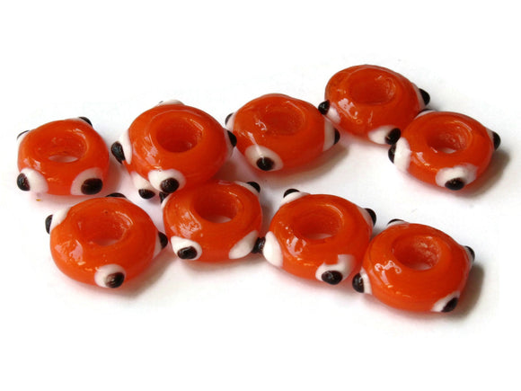 10 Orange Evil Eye Beads Lampwork Glass Beads Large Hole Beads Donut Beads European Saucer Beads Jewelry Making Macrame Beading Supplies
