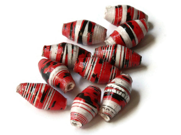 10 14mm Red with Black and White Stripes Ugandan Paper Beads Fair Trade Beads Sealed African Paper Beads Upcycled Beads Jewelry Making