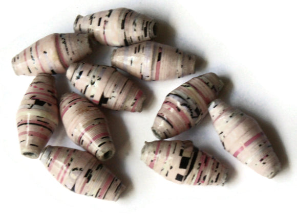 10 14mm Pink with Black Flecks Ugandan Paper Beads Fair Trade Beads African Paper Beads Sealed Paper Beads Upcycled Bead Jewelry Making