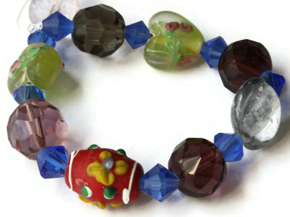 19 Mixed Color Lampwork and Faceted Glass Beads 8mm to 17mm Mixed Beads Jewelry Making Beading Supplies Smooth and Faceted Beads