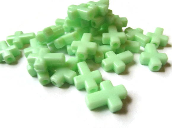 17mm Mint Green Crosses Plastic Beads Green Cross Beads Jewelry Making Beading Supplies Christian Beads Plastic Cross Beads