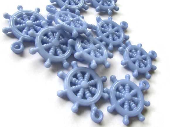 Periwinkle Blue Ship Helm Charm Ship Wheel Bead Nautical Charms Plastic Beads Pirate Beads Boat Charms