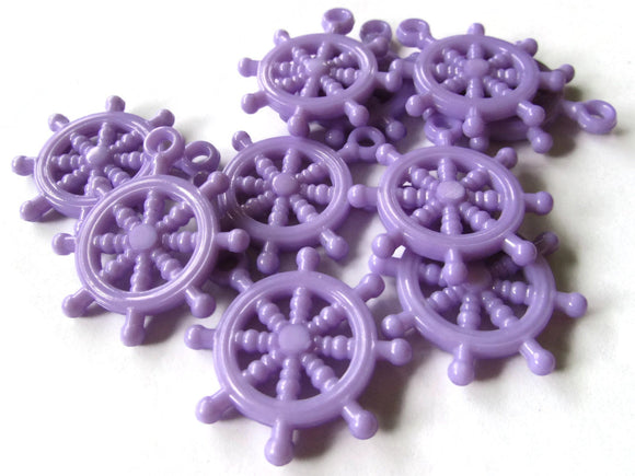 Lavender Purple Bead Ship Helm Charm Ship Wheel Bead Plastic Beads Pirate Beads Ship Charms Boat Charms Acrylic Beads Nautical Charms