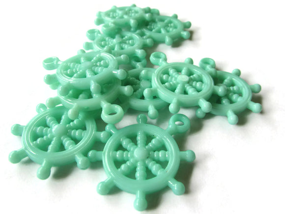 Green Charms Ship Wheel Bead Helm Charm Plastic Beads Pirate Beads Boat charms