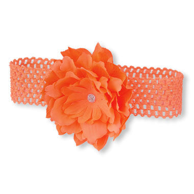 Toddler Girls Oversized Flower Crochet Headband (Orange)