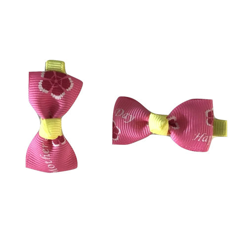 Bow Clip - Pink+Yellow