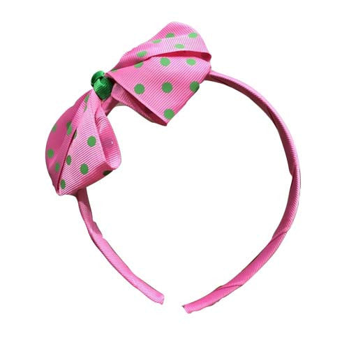 Polka Dot Bow Headband (Pink)