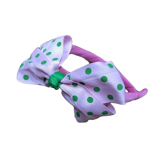 Polka Dot Bow Headband (Light Pink)
