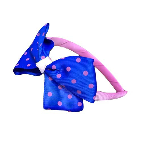 Polka Dot Bow Headband (Dark Blue)