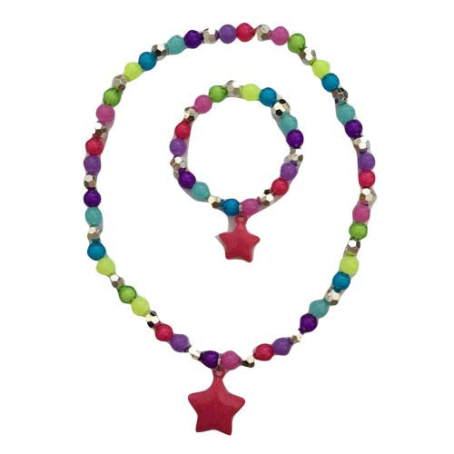 Girls Star Rainbow Necklace and Bracelet Set