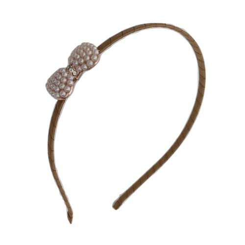 Pearl Bow Headband (Brown)