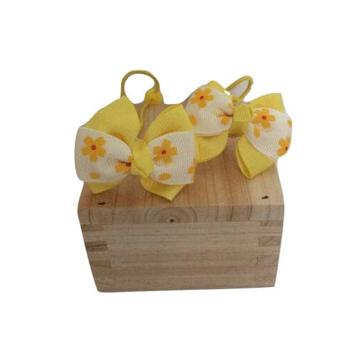Bow Ribbon Elastic Hair Tie (Yellow)