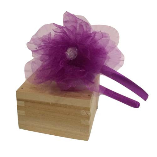 Organza Bow Headband (Purple)