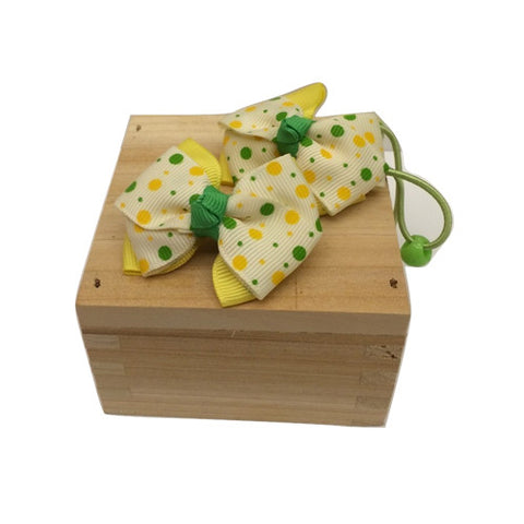 Bow Ribbon Elastic Hair Tie (Yellow/Green)