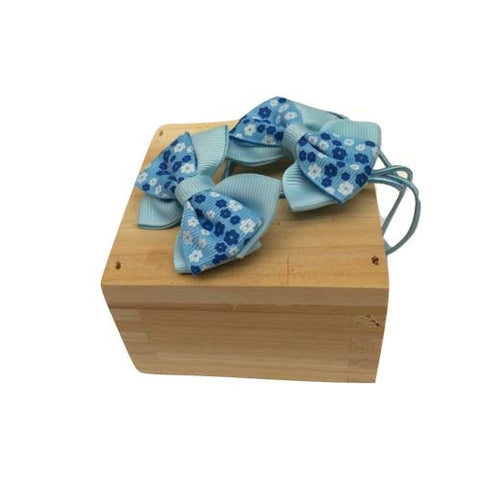 Bow Ribbon Elastic Hair Tie (Blue)