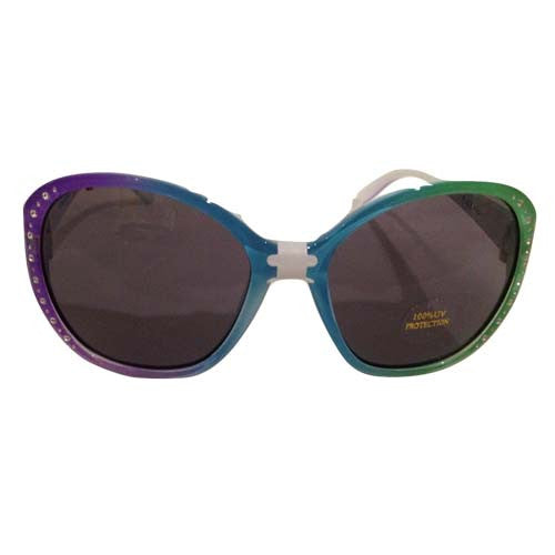 Girls Side Rhinestone Aviator Sunglasses (Rainbow)