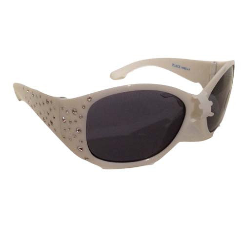 Girls Side-Embellished Sunglasses (White)
