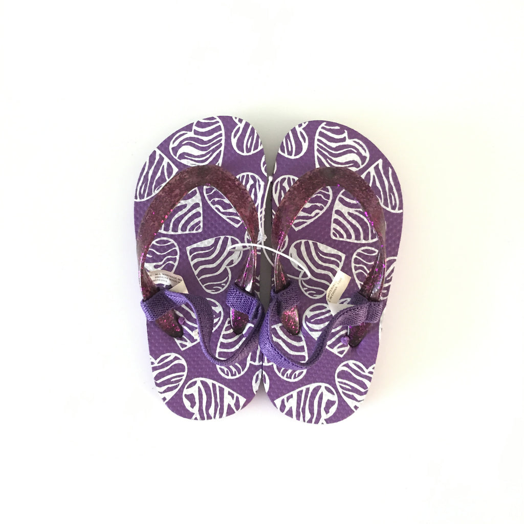 Zebra Hearts Flip Flops - Purple