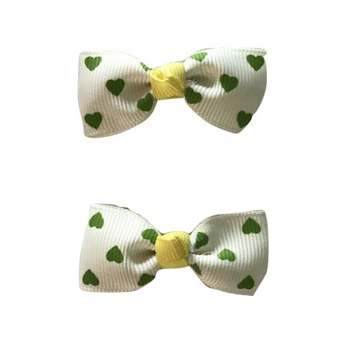 Polka Dots Bow Clip - Green Hearts