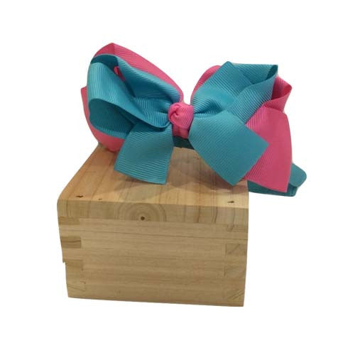 Duo-tone Bow Headband (Green/Pink)