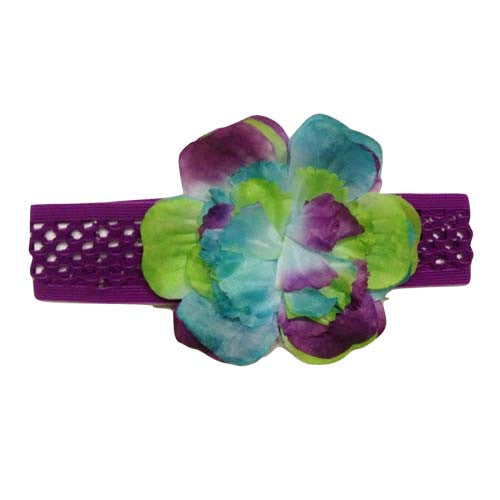 Toddler Girls Oversized Multicolor Ombre Flower Headwrap (Purple)