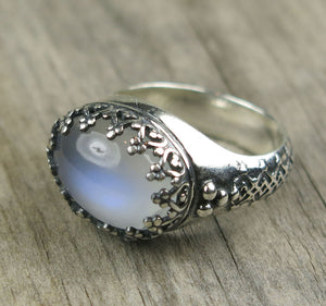 Blue Moonstone Princess Ring