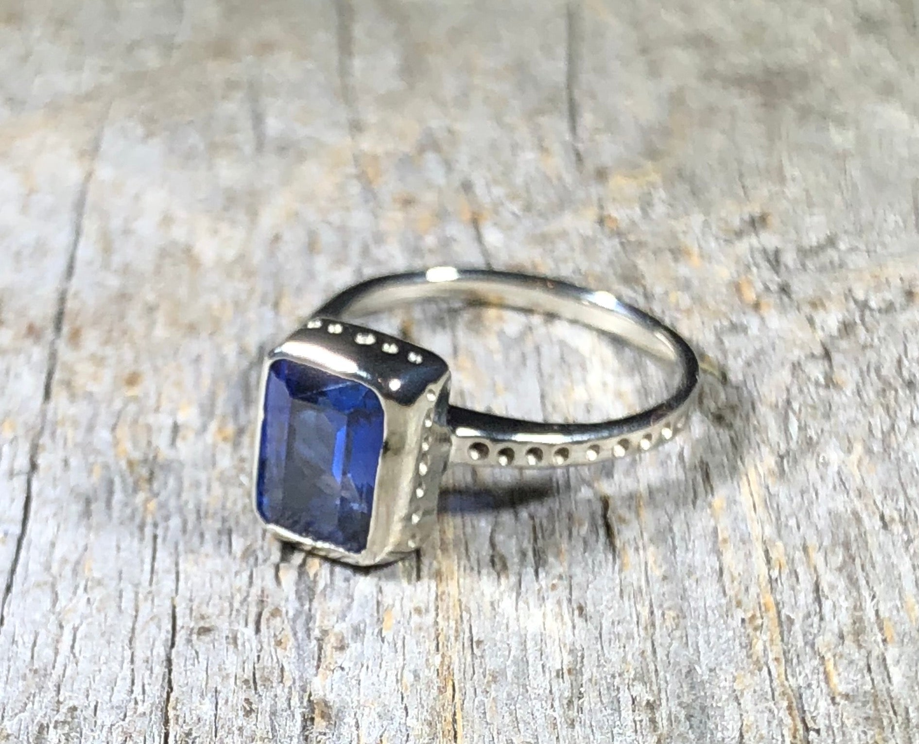White Gold Engagement Ring : Emerald Cut Sapphire