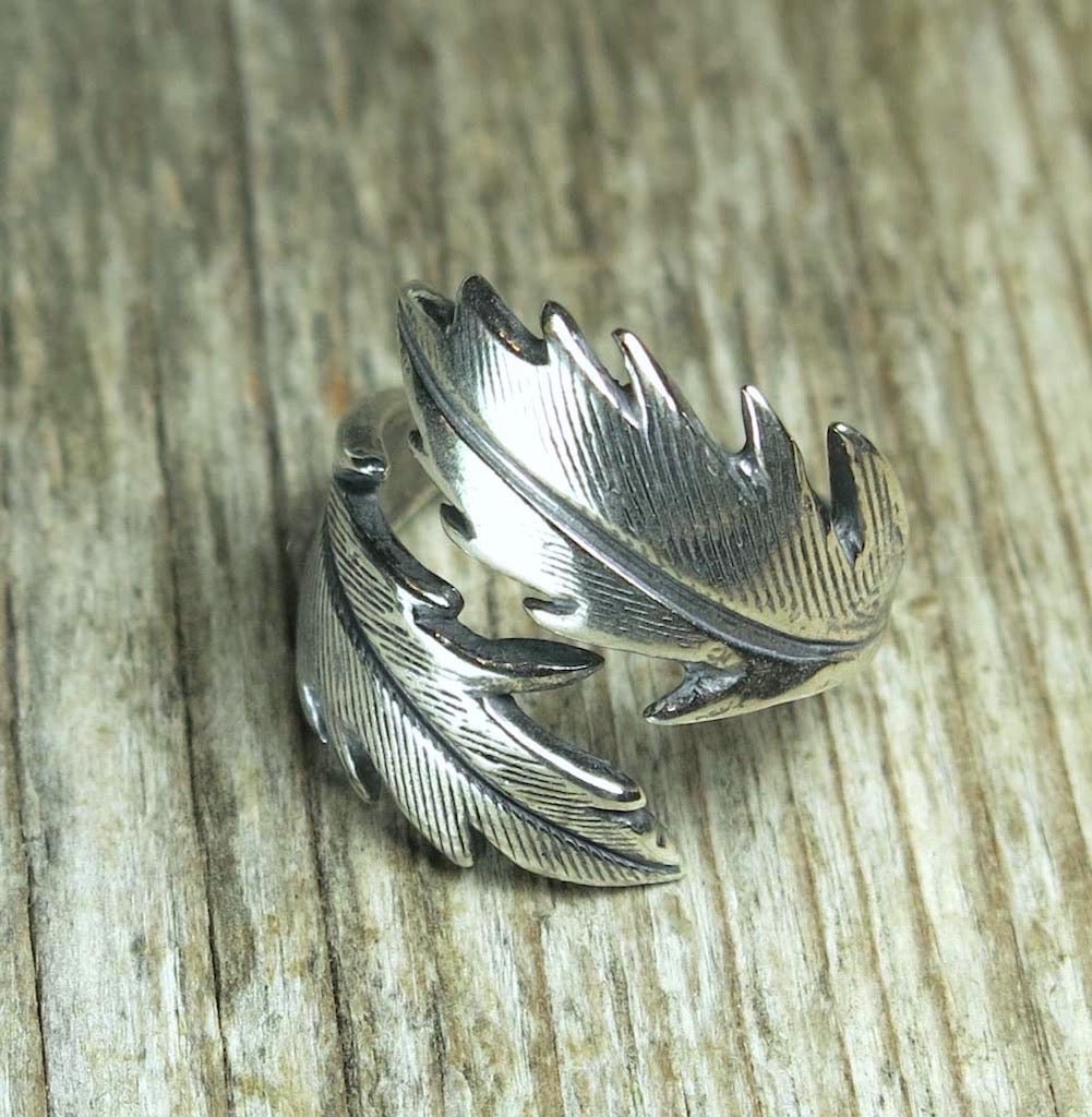 Wrap Ring: Raven and Owl Feather