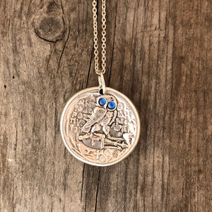 Ancient Coin Owl Pendant in Blue