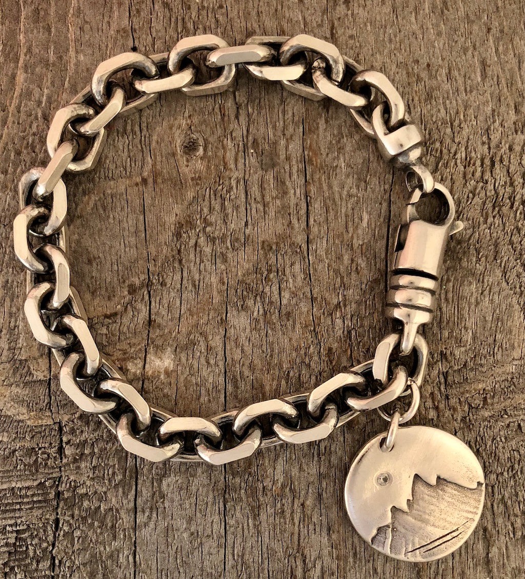 Heavy Squared Chain Bracelet with Patina